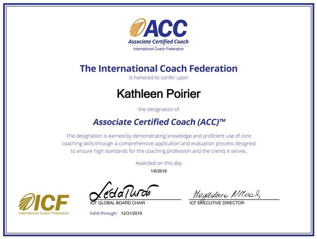 Kathleen Poirier, maintenant coach certifiée